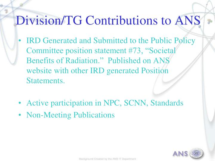 Division/TG Contributions to ANS