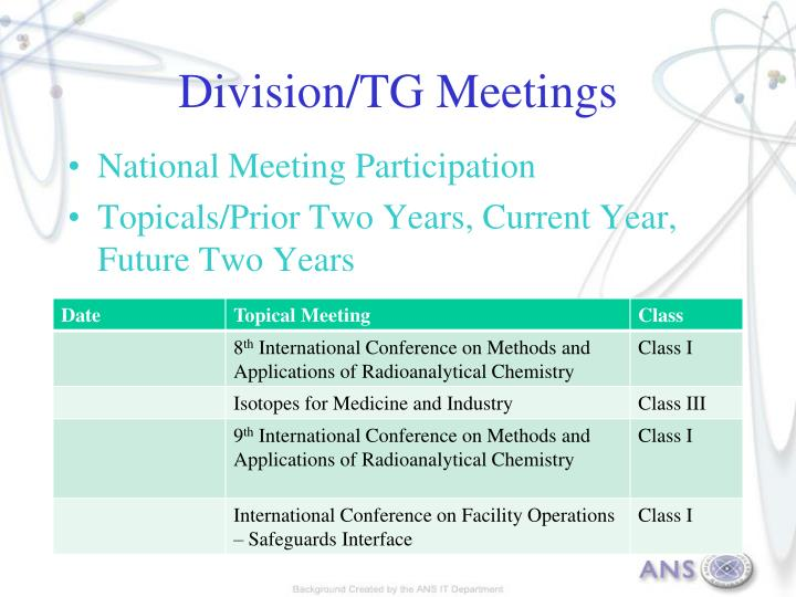 Division/TG Meetings