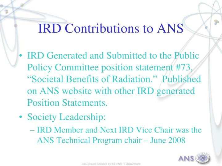 IRD Contributions to ANS