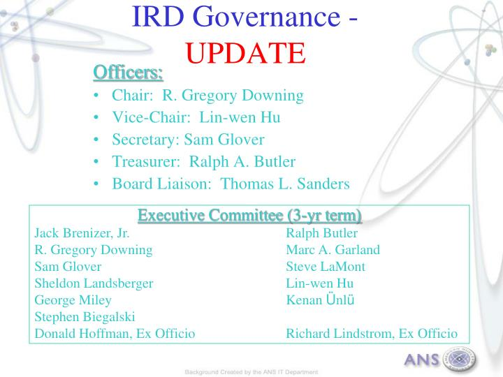 Ird governance update