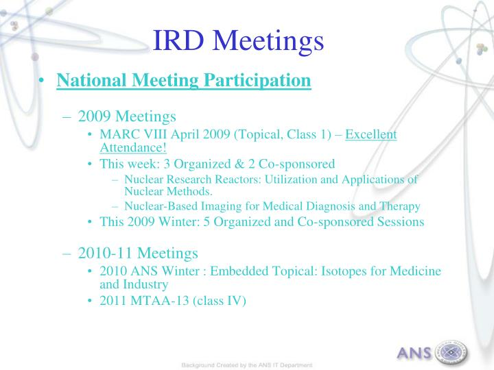 IRD Meetings