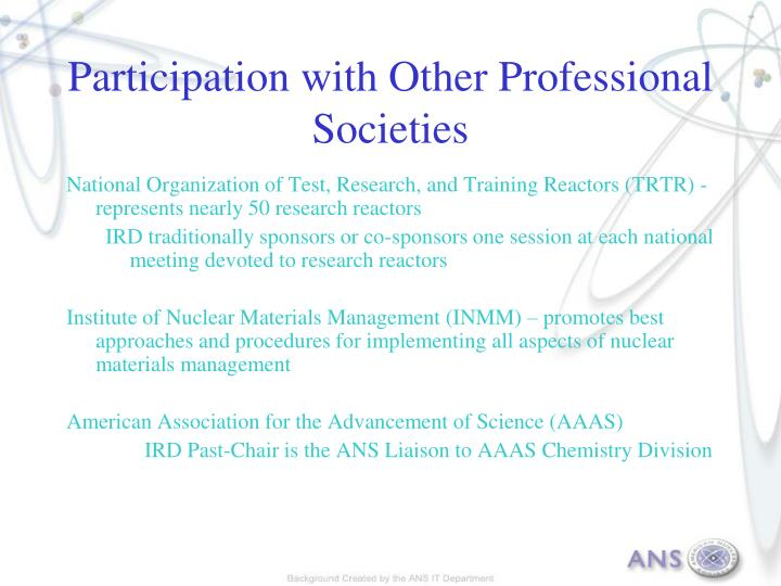 Participation with Other Professional Societies