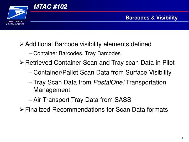 Barcodes & Visibility