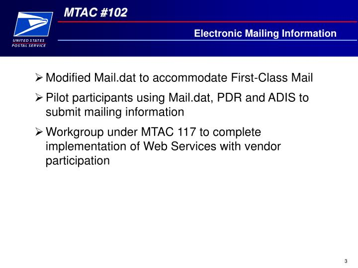 Electronic Mailing Information