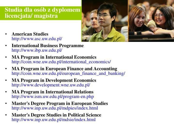 Studia dla osób z dyplomem