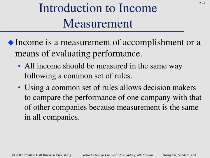 Introduction to Income Measurement