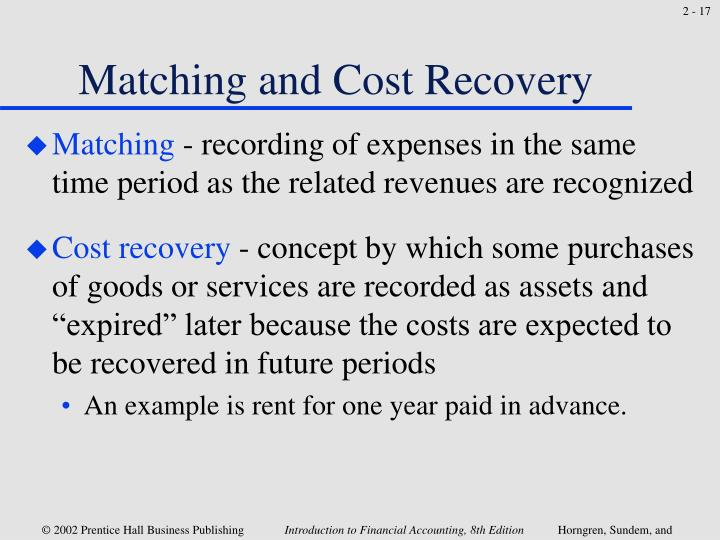 Matching and Cost Recovery