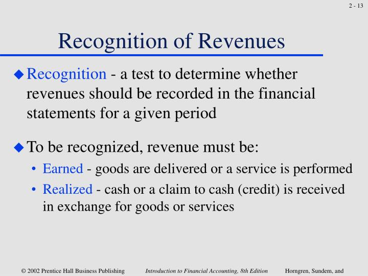 Recognition of Revenues