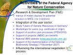activities of the federal agency for nature conservation
