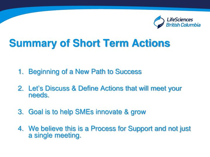 Summary of Short Term Actions