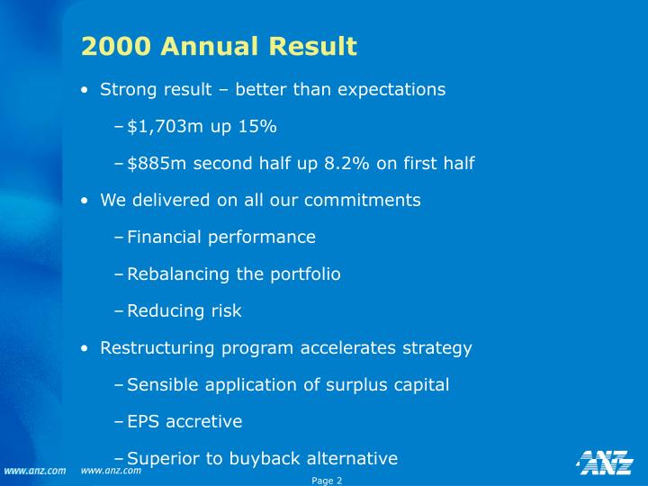 2000 Annual Result
