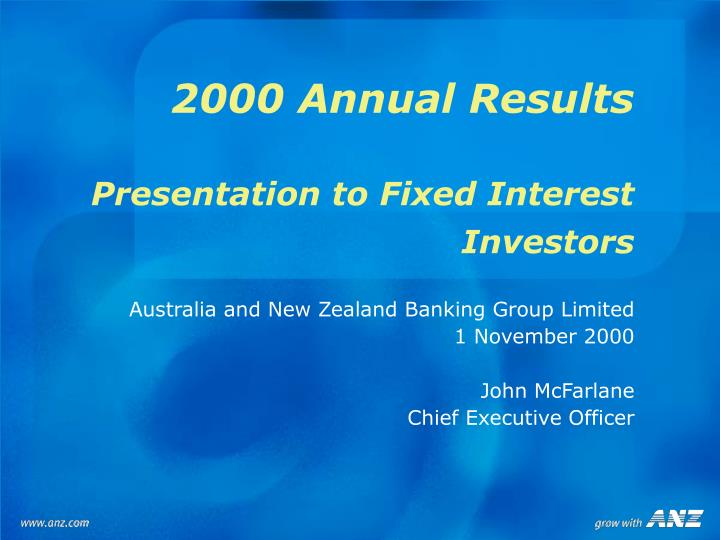 2000 annual results presentation to fixed interest investors