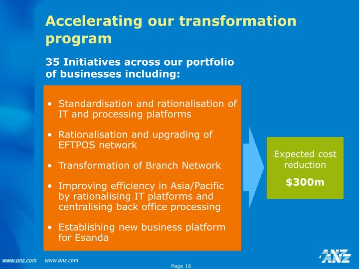 Accelerating our transformation program