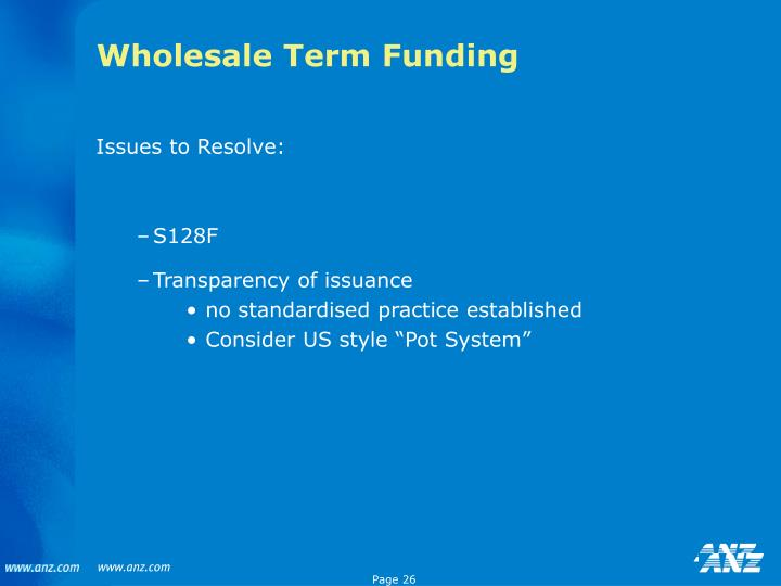 Wholesale Term Funding