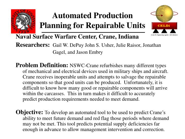 Automated Production Planning for Repairable Units