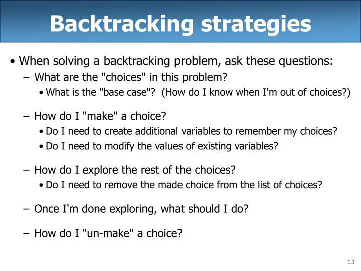 Backtracking strategies