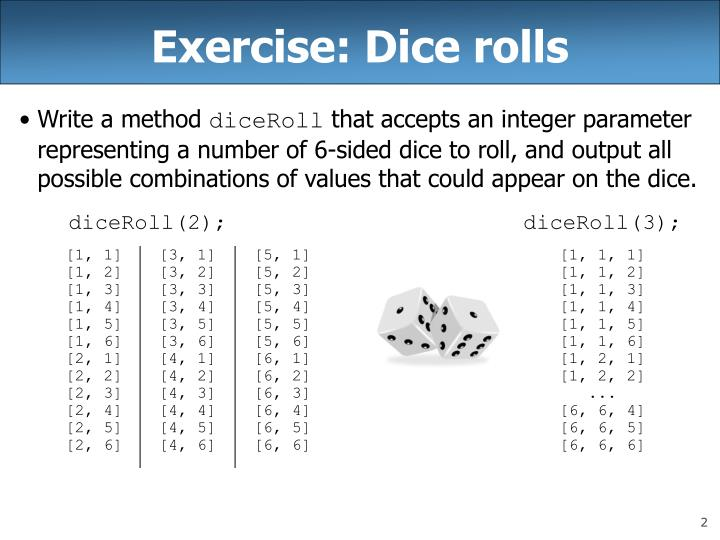 Exercise dice rolls