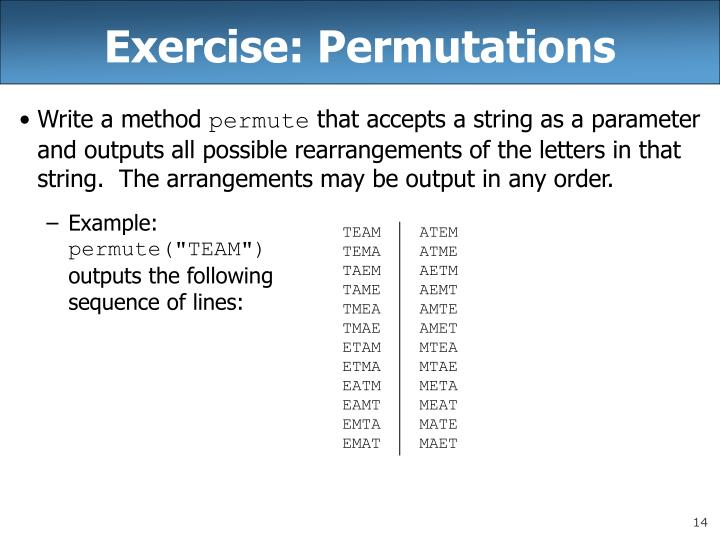 Exercise: Permutations