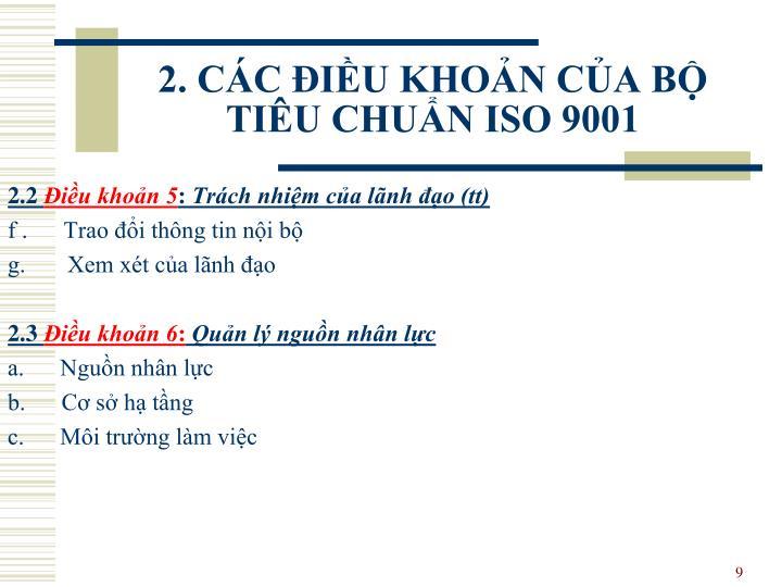 2. CÁC ĐIỀU KHOẢN CỦA BỘ TIÊU CHUẨN ISO 9001