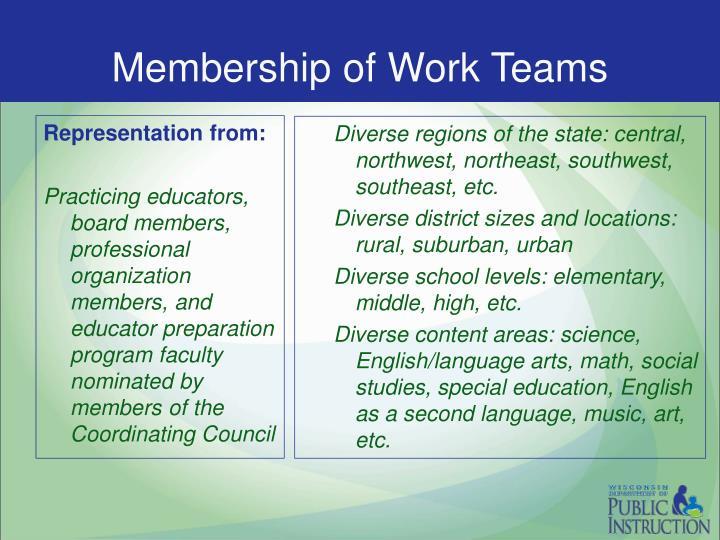 Membership of Work Teams