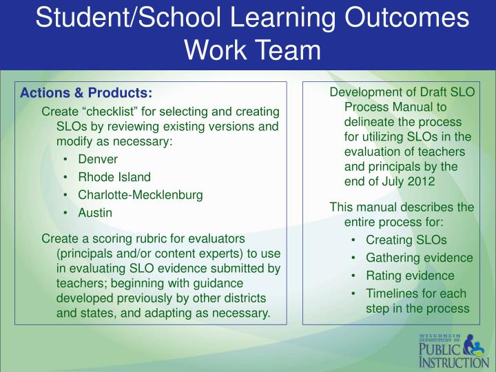 Student/School Learning Outcomes Work Team