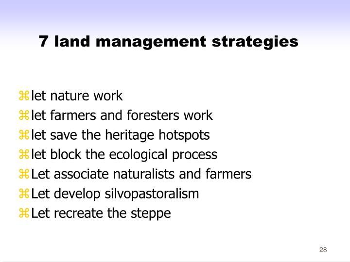 7 land management strategies