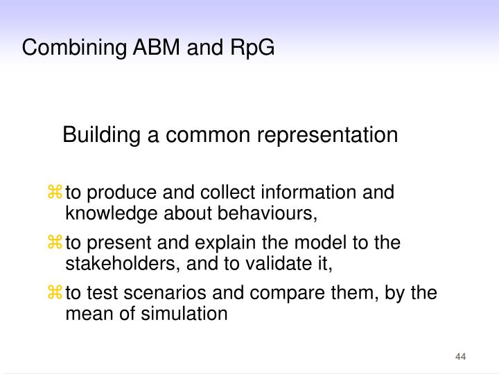 Combining ABM and RpG