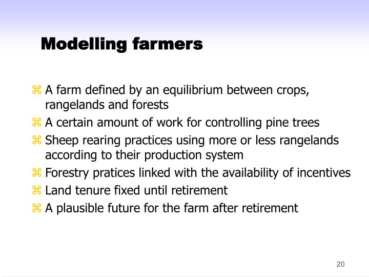 Modelling farmers