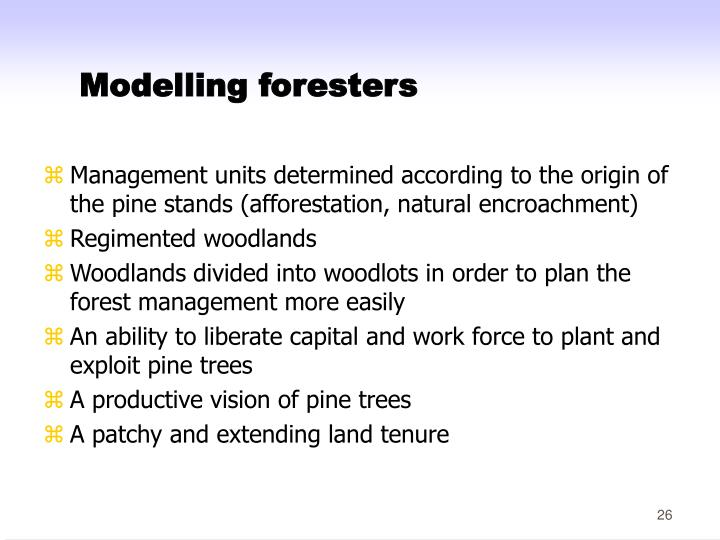 Modelling foresters