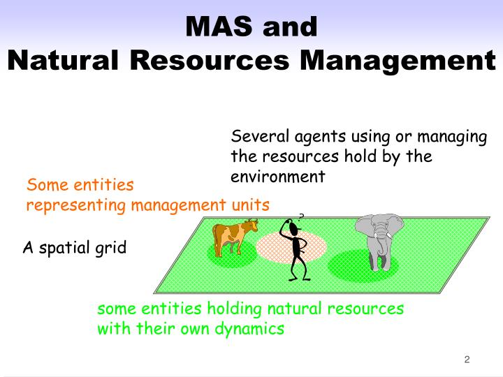Several agents using or managing the resources hold by the environment