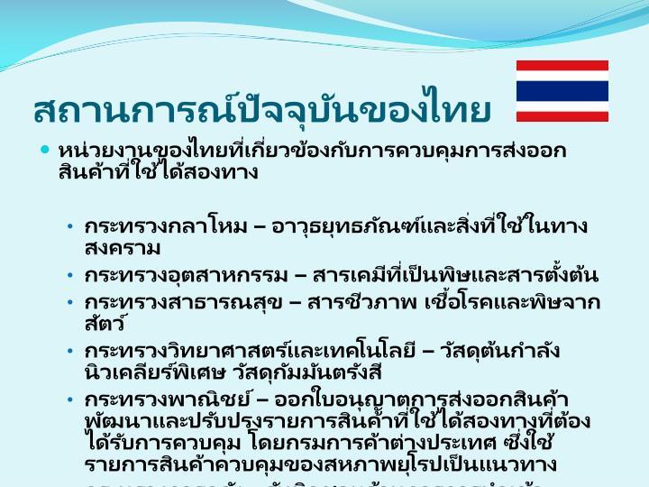 สถานการณ์ปัจจุบันของไทย