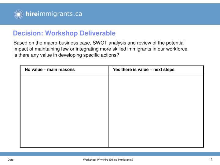 Decision: Workshop Deliverable