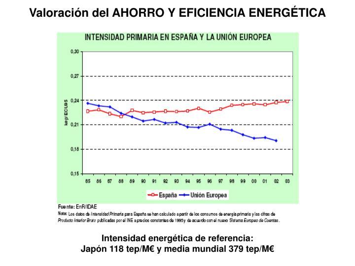 Valoración del AHORRO Y EFICIENCIA ENERGÉTICA