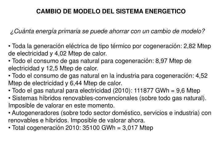 CAMBIO DE MODELO DEL SISTEMA ENERGETICO