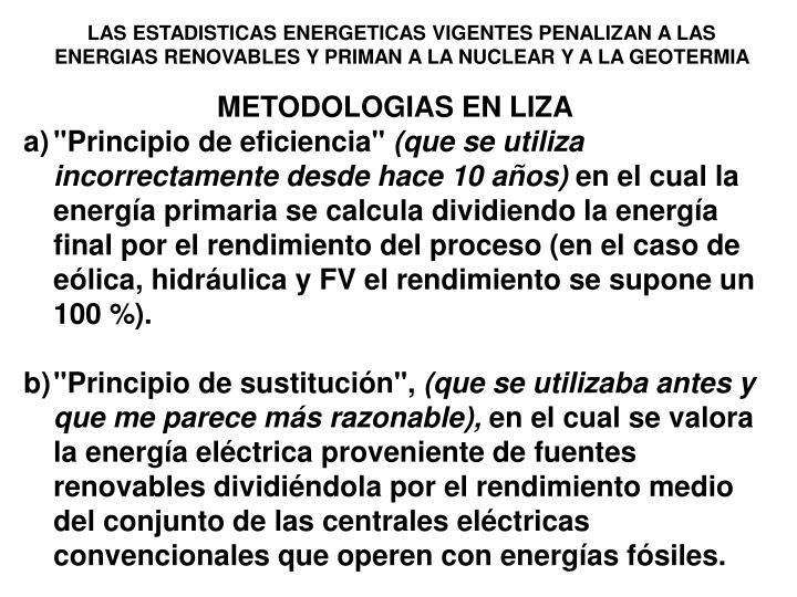 LAS ESTADISTICAS ENERGETICAS VIGENTES PENALIZAN A LAS ENERGIAS RENOVABLES Y PRIMAN A LA NUCLEAR Y A LA GEOTERMIA