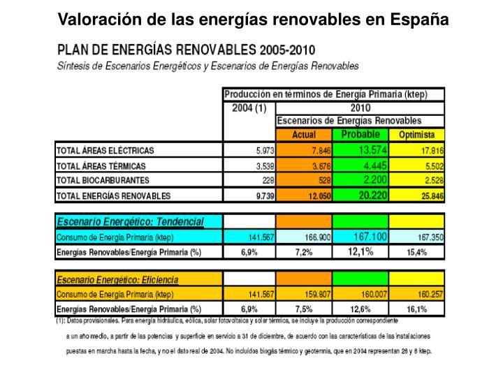Valoración de las energías renovables en España