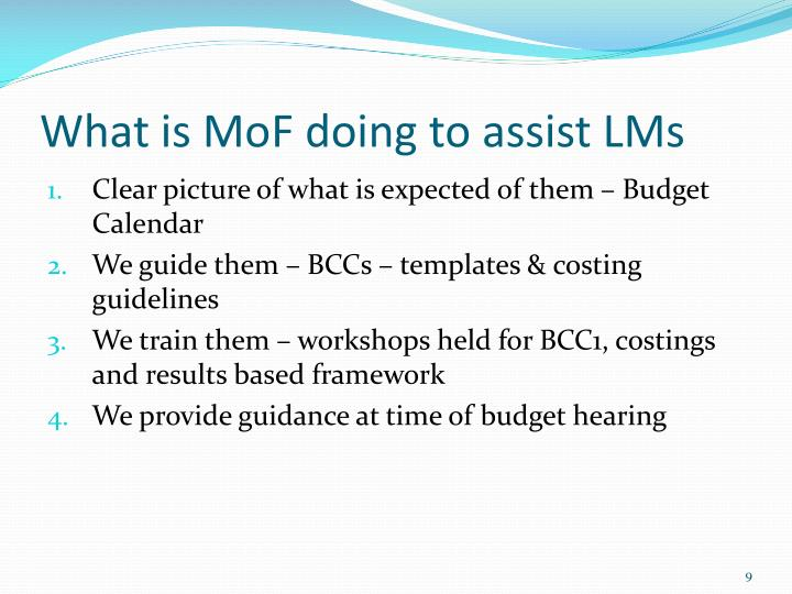 What is MoF doing to assist LMs