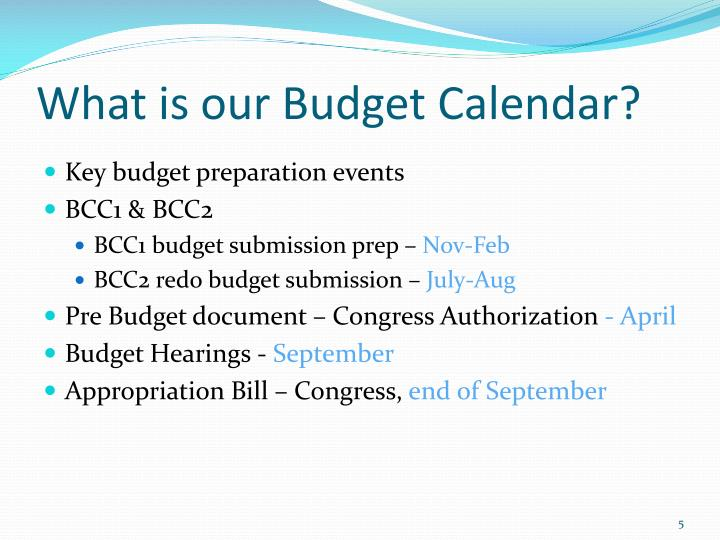 What is our Budget Calendar?