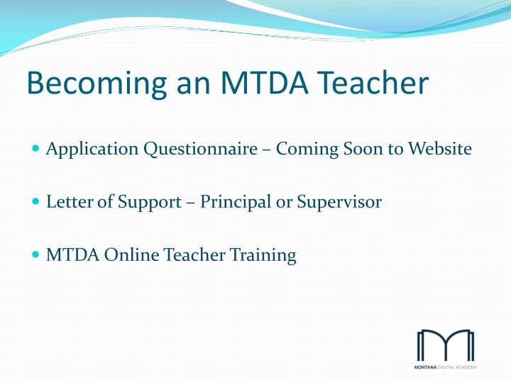 Becoming an MTDA Teacher