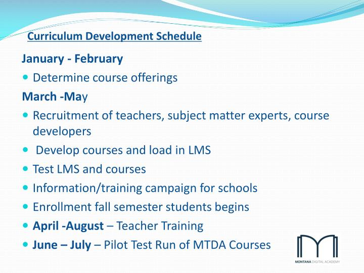 Curriculum Development Schedule