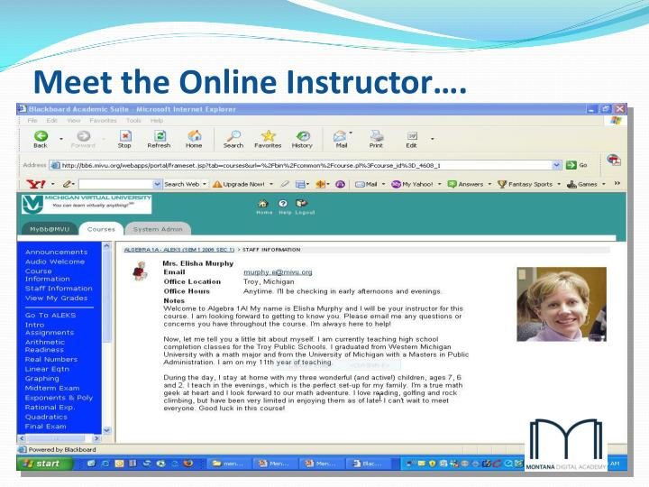 Meet the Online Instructor….