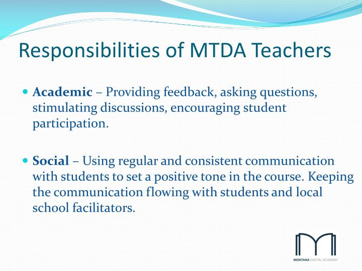 Responsibilities of MTDA Teachers