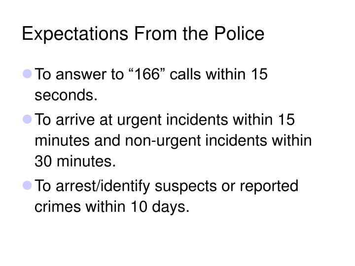 Expectations From the Police