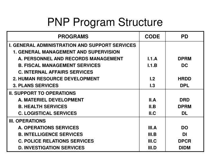 PNP Program Structure