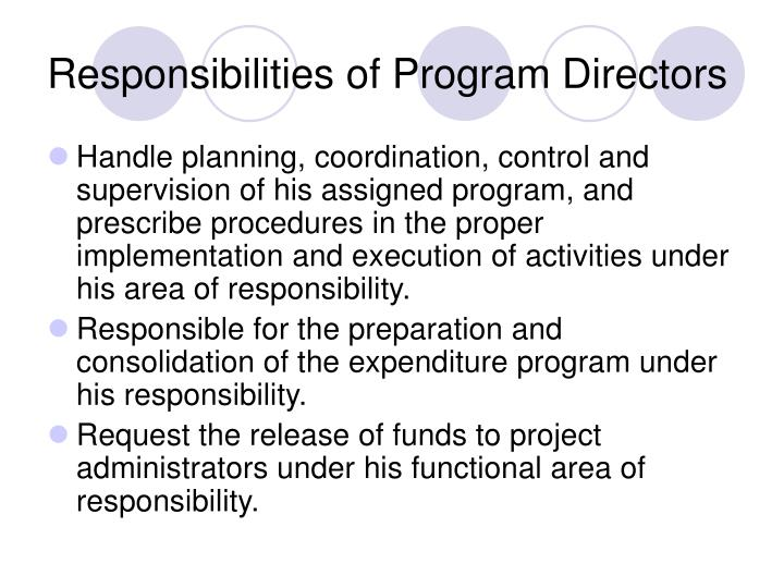 Responsibilities of Program Directors