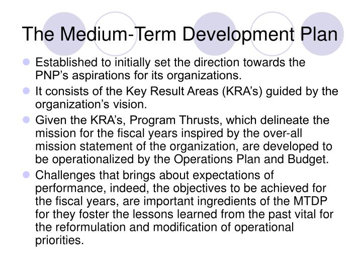 The medium term development plan