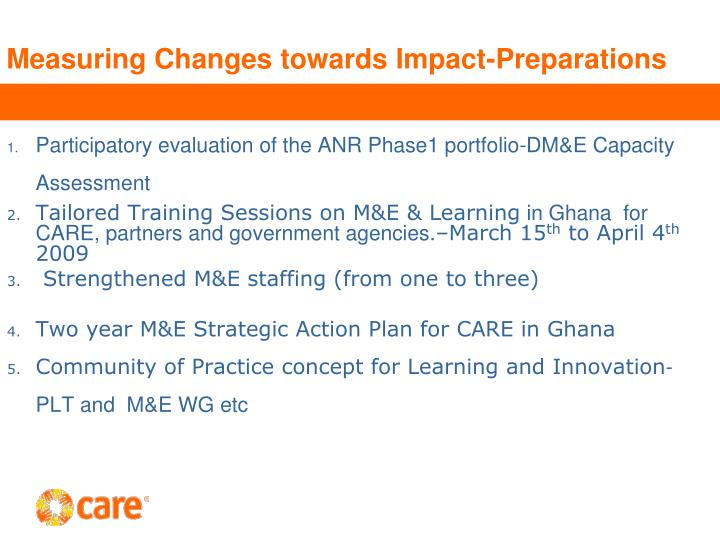 Measuring Changes towards Impact-Preparations
