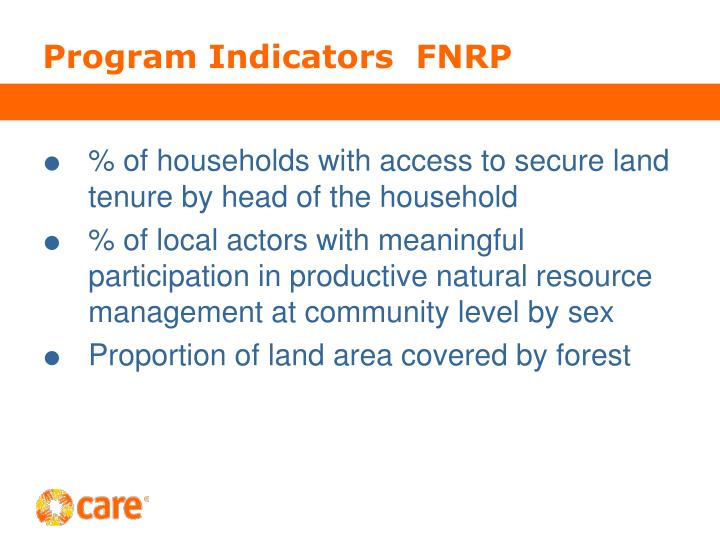 Program Indicators  FNRP