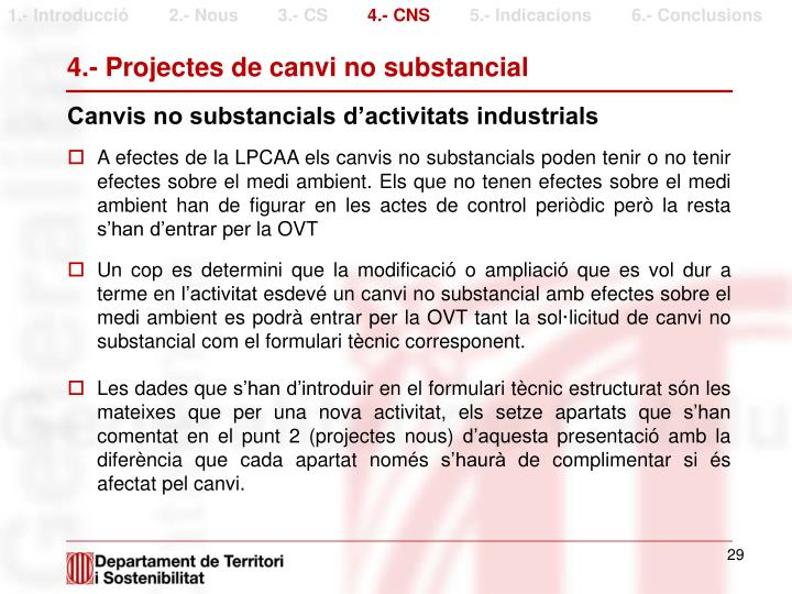4.- Projectes de canvi no substancial