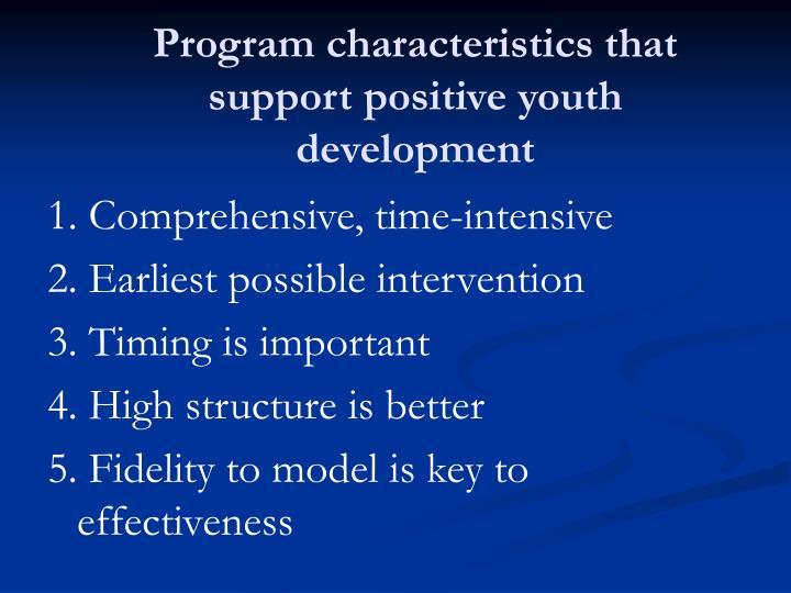 Program characteristics that